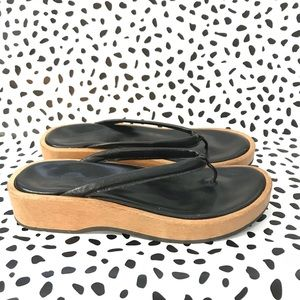 J Crew Platform Sandals Thong Black Leather 8